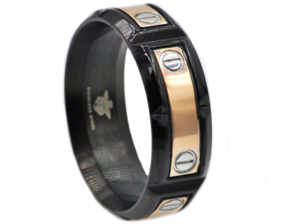 Mens Rose And Black Plated Stainless Steel Band - Blackjack Jewelry
