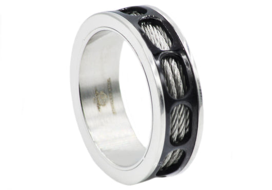 Mens Black Plated Stainless Steel Wire Band