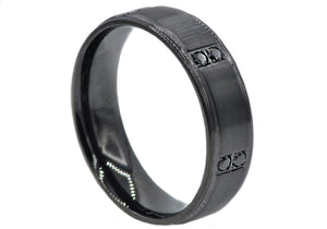 Mens Black Plated Stainless Steel Band With Black Cubic Zirconia - Blackjack Jewelry