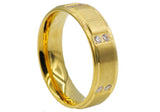Mens Gold Plated Stainless Steel Band With Cubic Zirconia - Blackjack Jewelry