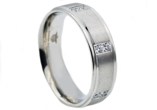 Mens Stainless Steel Band With Cubic Zirconia