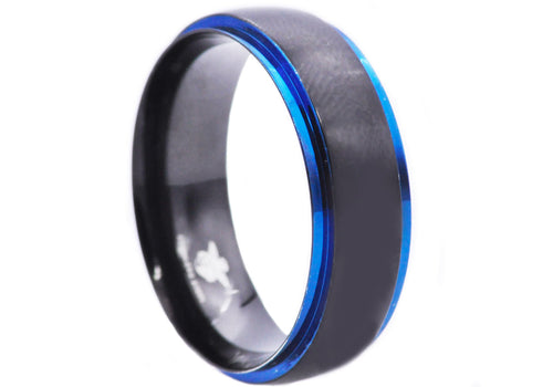 Men's Black And Blue Stainless Steel 8mm Ring - Blackjack Jewelry