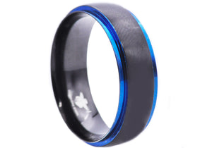 Mens Black And Blue Plated Stainless Steel Ring - Blackjack Jewelry