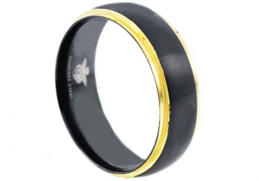 Mens Gold And Black Plated Stainless Steel Band - Blackjack Jewelry