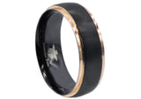 Mens Rose And Black Plated Stainless Steel Band