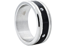 Load image into Gallery viewer, Mens Black Stainless Steel Band With Cubic Zirconia - Blackjack Jewelry