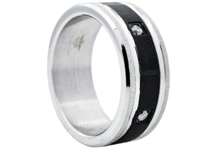 Mens Black Stainless Steel Band With Cubic Zirconia - Blackjack Jewelry
