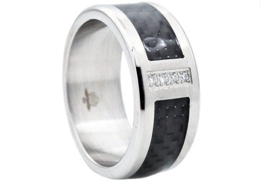 Mens Stainless Steel And Carbon Fiber Ring With Cubic Zirconia
