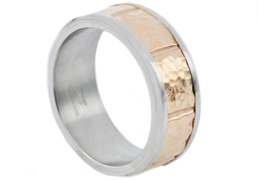 Mens Hammered Rose Gold Plated Two Tone Stainless Steel Band - Blackjack Jewelry
