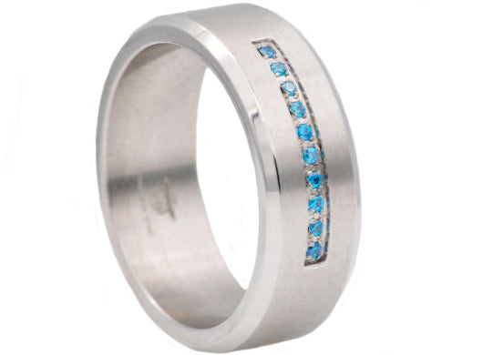 Mens Stainless Steel Ring With Blue Cubic Zirconia
