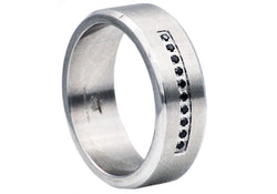Mens Stainless Steel Ring With Black Cubic Zirconia