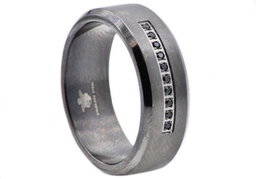 Mens Black Plated Stainless Steel Ring With Black Cubic Zirconia - Blackjack Jewelry