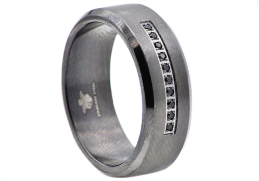 Mens Black Plated Stainless Steel Ring With Black Cubic Zirconia