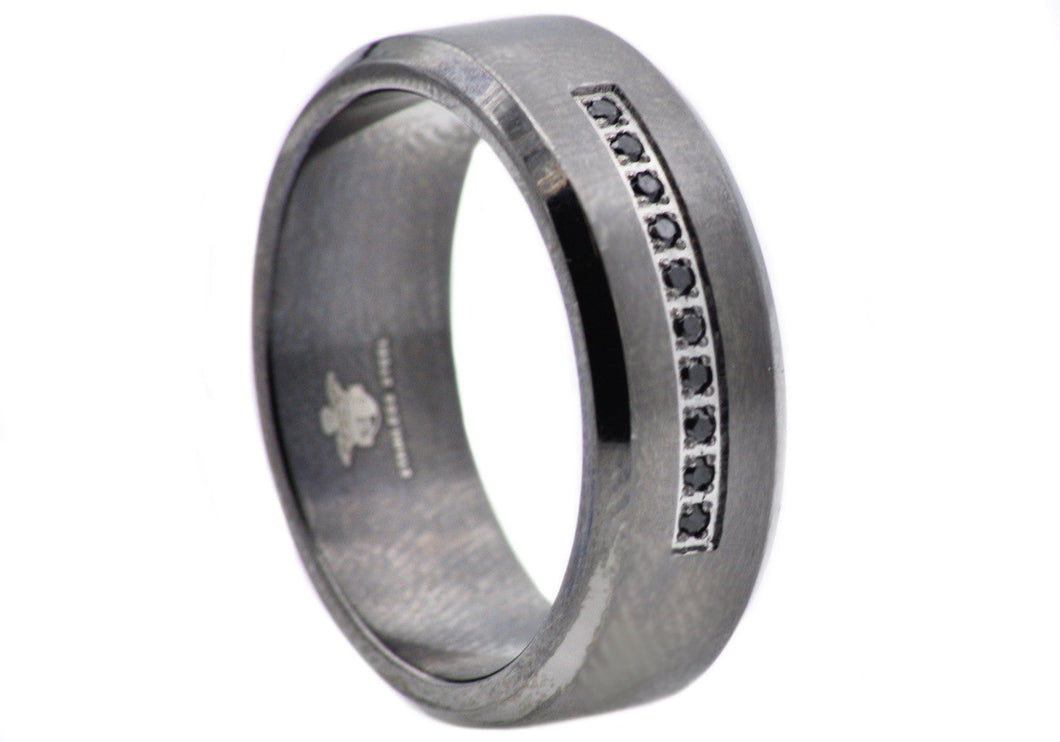 Mens Black Stainless Steel Ring With Black Cubic Zirconia - Blackjack Jewelry