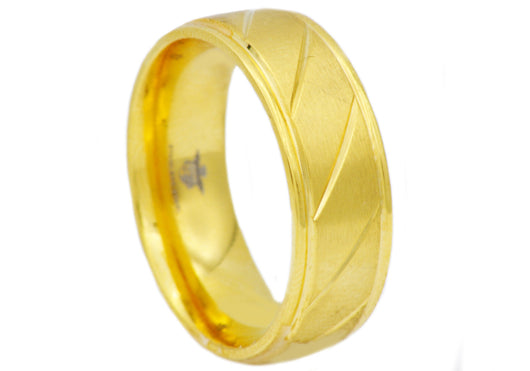 Mens Gold Plated Stainless Steel Ring