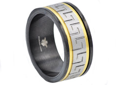 Mens Gold And Black Plated Stainless Steel Ring