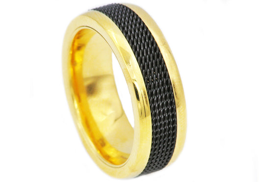 Mens Black And Gold Plated Stainless Steel Ring