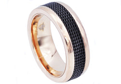 Mens Black And Rose Plated Stainless Steel Ring