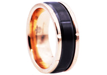 Load image into Gallery viewer, Men's 8mm Black And 18k Rose Gold Plated Stainless Steel Etched Ring - Blackjack Jewelry