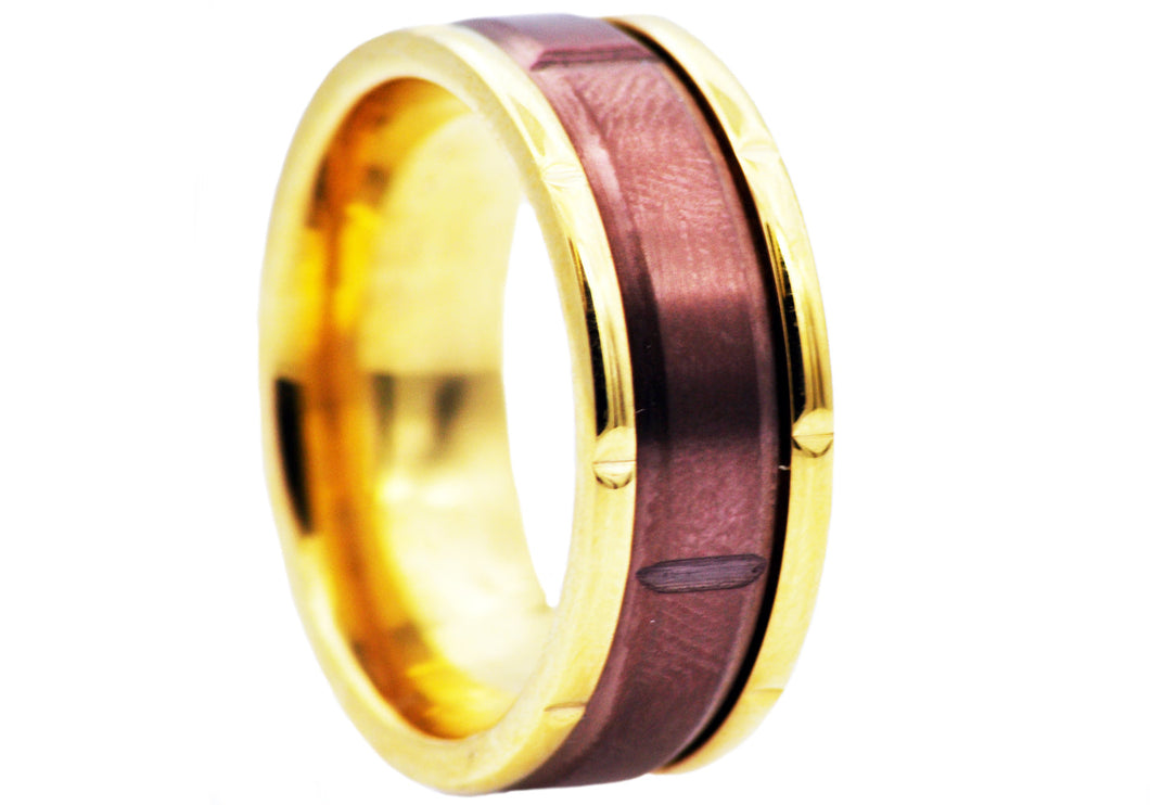 Mens Chocoalate And Gold Plated Stainless Steel Ring - Blackjack Jewelry