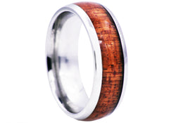 Mens Wood Inlayed Stainless Steel Ring