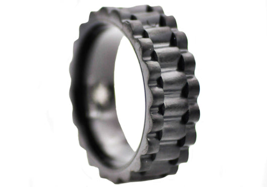 Mens Black Plated Stainless Steel Band Ring