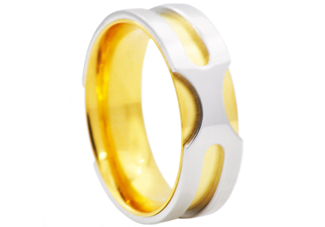 Mens Gold Stainless Steel Band Ring - Blackjack Jewelry