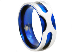 Mens Blue Plated Stainless Steel Band Ring