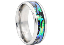 Load image into Gallery viewer, Mens Genuine Abalone Stainless Steel Band Ring - Blackjack Jewelry