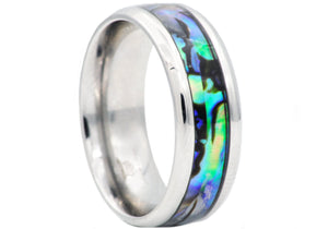 Mens Genuine Abalone Stainless Steel Band Ring - Blackjack Jewelry