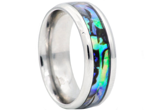 Mens Genuine Abalone Stainless Steel Band Ring
