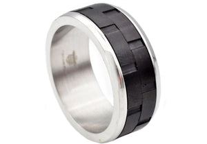 Men's Black And Silver Stainless Steel Brick Design 9mm Band Ring - Blackjack Jewelry