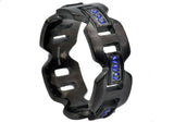 Mens Black Plated Stainless Steel Band With Blue Cubic Zirconia