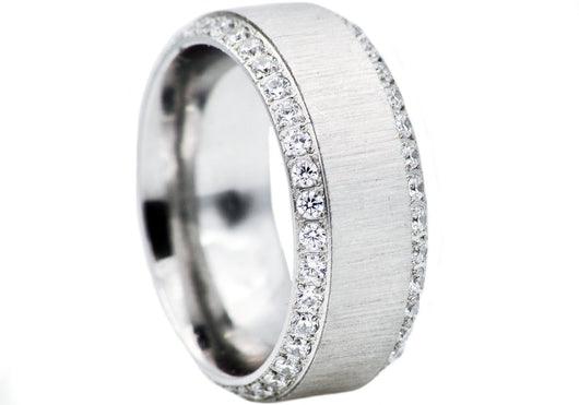 Mens Stainless Steel Band With Cubic Zirconia - Blackjack Jewelry