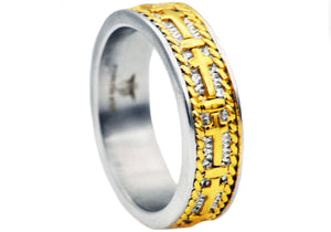 Mens Gold Plated Stainless Steel Cross Band - Blackjack Jewelry