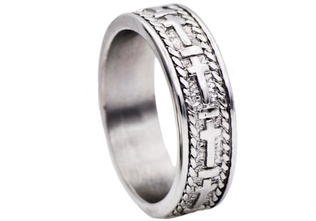 Mens Stainless Steel Cross Band - Blackjack Jewelry
