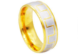 Mens Gold Plated Stainless Steel Band - Blackjack Jewelry
