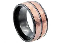 Mens Black And Chocolate Plated Stainless Steel Ring - Blackjack Jewelry