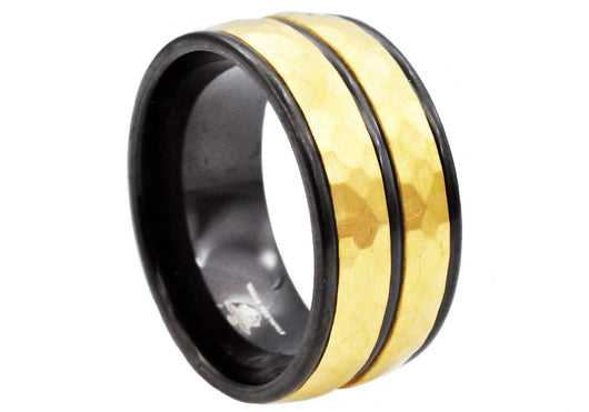 Mens Black And Gold Plated Stainless Steel Ring - Blackjack Jewelry
