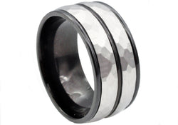 Mens Black Plated Stainless Steel Ring - Blackjack Jewelry
