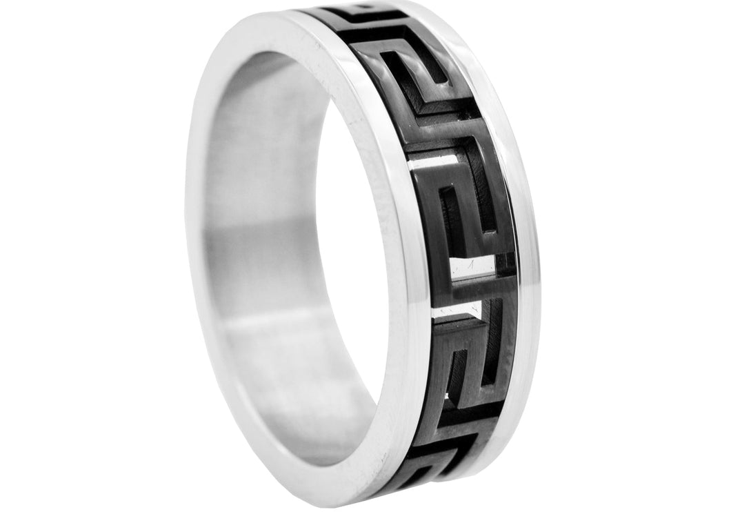 Mens Two Tone Black Stainless Steel Band - Blackjack Jewelry