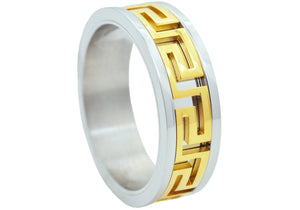Mens Two Tone Gold Stainless Steel Band - Blackjack Jewelry