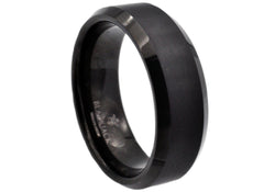 Mens Black Plated Tungsten Ring