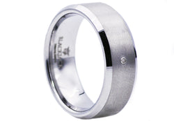 Mens Tungsten Band Ring With Cubic Zirconia
