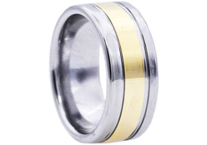 Mens Gold Plated Tungsten Band Ring - Blackjack Jewelry