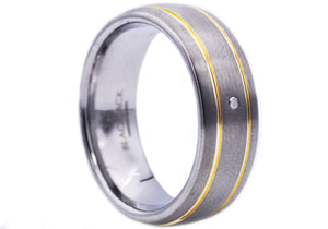 Mens Gold Plated Tungsten Band Ring With Diamond - Blackjack Jewelry