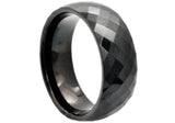 Mens Black Plated Tungsten Band Ring