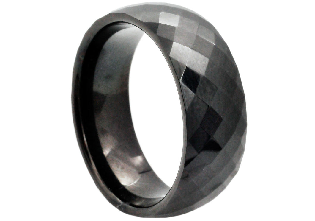 Mens Black Plated Tungsten Band Ring - Blackjack Jewelry