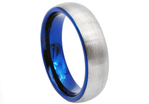 Mens Blue Plated Tungsten Band Ring - Blackjack Jewelry