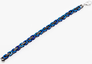 Mens Black And Blue Stainless Steel Byzantine Link Chain Bracelet - Blackjack Jewelry